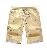 Tootlessly Men Fashion Elastic Drawstring Straight Baggy Bermuda Shorts Khaki S