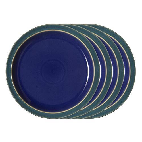 Denby HRL-003/4GB Harlequin Green/Blue Set of 4 Dinner Plates Teller-Set, Steingut, multi color; vibrant Denby Blue Plate