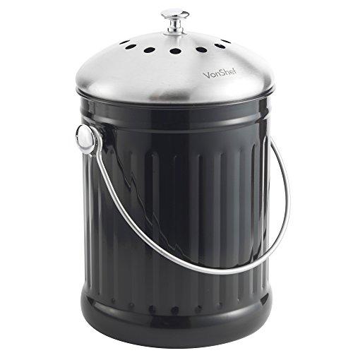VonShef Edelstahl 4,5 Liter Bio Mülleimer Komposteimer mit Griff und geruchsabsorbierendem Filter