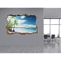 Palms and Caribbean Beach Photo Hole in Wall Sticker Wall Mural (13313070) Beach (30cm x 20cm)