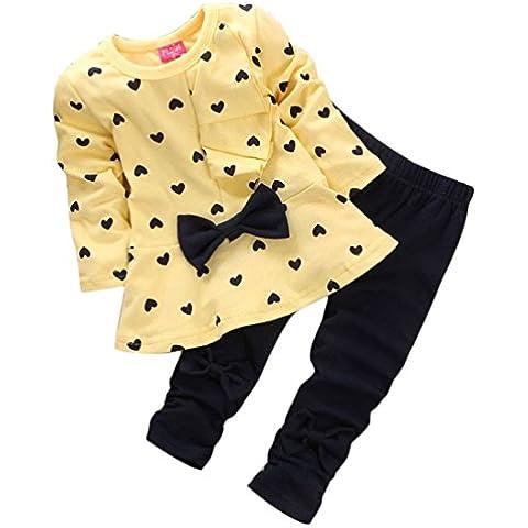 Per 0-2 anni,Amlaiworld Bambino ragazza carina Bow t-shirt + pantaloni