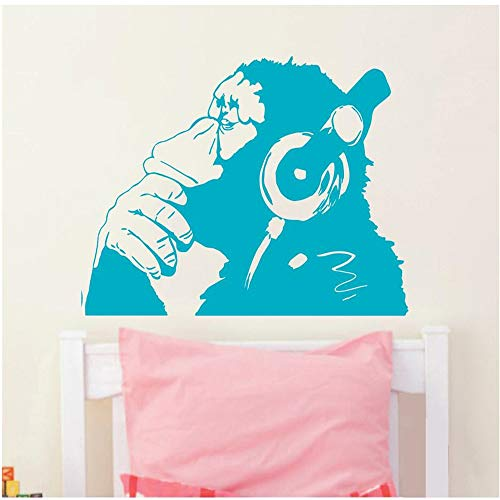 sswymx Vinyl Wandtattoo AFFE Mit Kopfhörer Schimpanse Musik Hören In Kopfhörer Straße Graffiti Aufkleber Wandbild Poster blau 90X120 cm