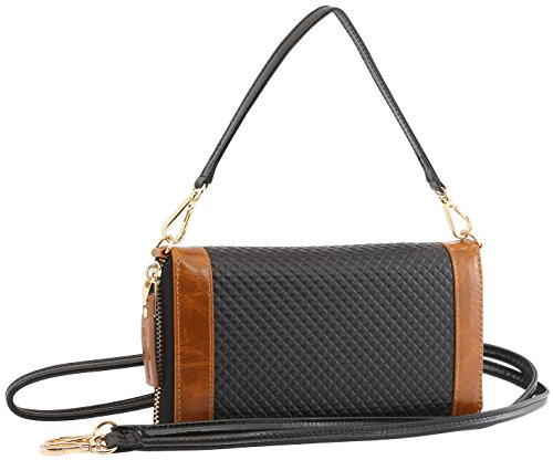 StilGut Smart Wallet in pelle - elegante clutch, portafoglio, custodia per smartphone e borsa a tracolla, Blu Scuro Nappa nero-cognac chester