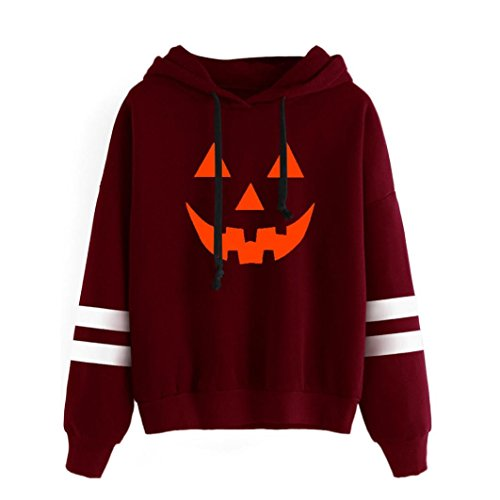 Amlaiworld Halloween Stripe locker Sweatshirt damen mit aufdruck kürbis Kapuzenpullover warm weich Herbst Winter pulli halloween kostüm (M, (Süße Kapuze Rot Kostüme)