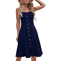 Vestimenta Casual de Playa para Mujer Vestidos de Verano de algodón sólido Adaptable A-Line Correa de Espagueti con Botones Abajo Azul XL