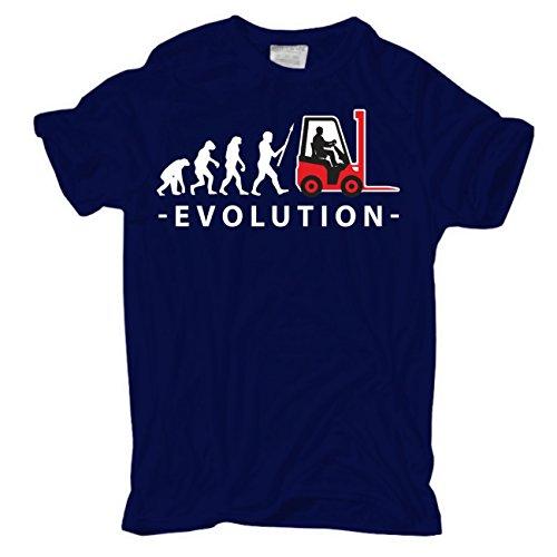 Männer und Herren T-Shirt Evolution Staplerfahrer Dunkelblau