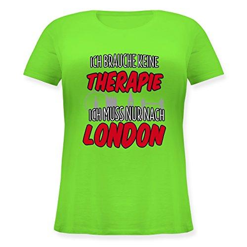 Shirtracer Städte - Ich Brauche Keine Therapie Ich muss Nur Nach London - Lockeres Damen-Shirt in Großen Größen mit Rundhalsausschnitt Hellgrün