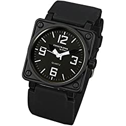 INFANTRY® Mens Analogue Quartz Wrist Watch Square Military Sport Black Rubber Strap INFILTRATOR