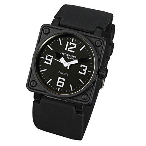 INFANTRY® Herren Analoges Quarzwerk Armbanduhr Outdoor Quarz Schwarz Kautschuk Armband