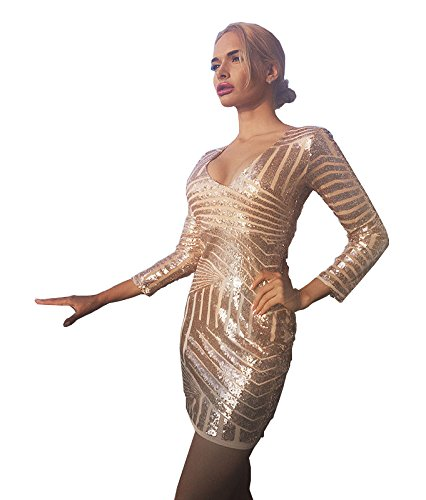 Missord Damen Cocktail Kleid Gold oro L (Pailletten-partei-cocktail)