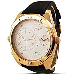 New Expensive Mens Watch Sale - Black Leather Dual Time Analogue Swiss Watch Uk