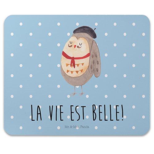Preisvergleich Produktbild Mr. & Mrs. Panda Mauspad Druck Eule Französisch - 100% handmade in Norddeutschland - Frankreich, Mauspad, La vie est belle, Arbeit, Owl, Maus, Mousepad, das Leben ist schön, Gummi Natur Kautschuk, Druck, Eulen, Spruch Französisch