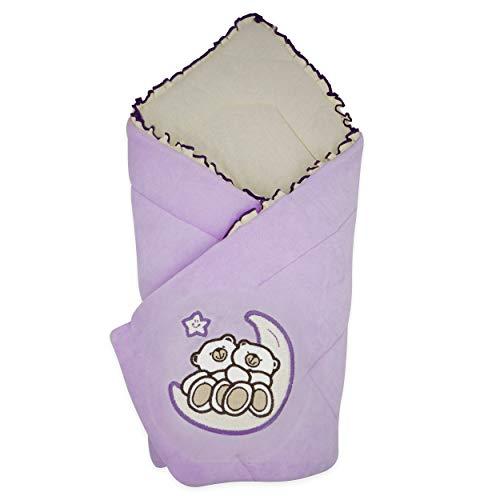 BlueberryShop Wickeldecke   Veloursdecke   Schlafsack für Neugeborene   Für Kinder von 0 bis 3 Monaten   Perfekt als Geschenk für Baby Shower   78 x 78 cm   Violett