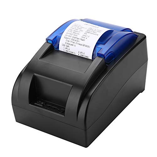 ASHATA Imprimante Thermique à Reçu Bluetooth sans Fil 58mm Impression Haute Vitesse, Ports USB,Imprimante de Ticket de Caisse avec Batterie Rechargeable pour Les magasins de détail Restaurants(Noir)