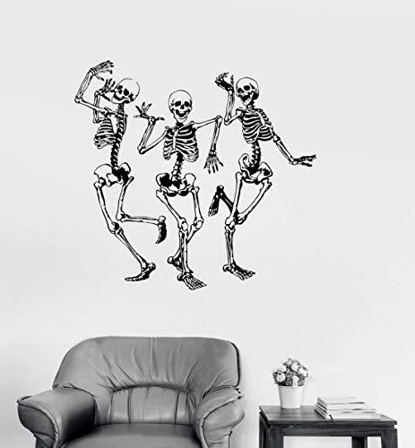 JXNY Street Dance Aufkleber Vinyl Wand Applique lustige Tanz Knochen Party Horror Halloween Aufkleber, Mode Wohnkultur Wohnzimmer 44X42CM