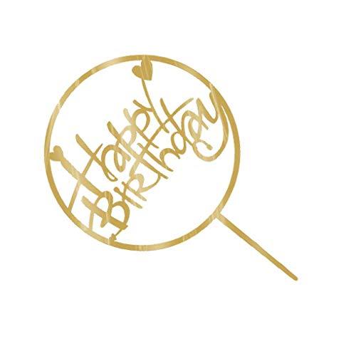 Lorsoul Alles Gute zum Geburtstag Kuchen-Deckel Acryl Gold-Funkeln DIY Glitzer-Kuchen-Kuchen-Smash-Kerze-Partei-Handgemachte Stick - Muster E (Gold-kuchen-deckel)
