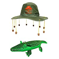 AUSTRALIA DAY FANCY DRESS SET AUSTRALIAN CORK HAT WITH KOALA PRINT + INFLATABLE CROCODILE OZ COSTUME AUSSIE DUNDEE