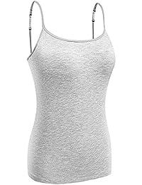 KEALLI Camisolas de Mujeres con Inserto de Sujetador Camisetas sin Mangas de Tirante Straps Ajustables Camisolas