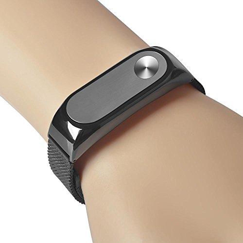 Correa de reloj de pulsera elegante, KanLin1986 ligero de acero inoxidable correa de reemplazo para Xiaomi Mi banda 2 Smart Wristband (negro)