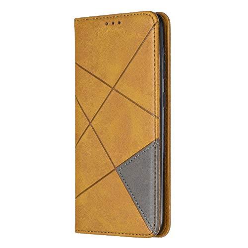 Handyhülle Compatible with Samsung Galaxy A50 Hülle Retro Flip PU Leder Cover mit Kredit Kartenfach Magnet Tasche Schutzhülle für Samsung A50 Smartphone - Spleißen Design (A50, Yellow) -
