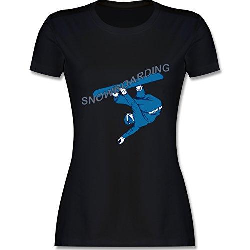 Wintersport - Snowboarding - tailliertes Premium T-Shirt mit Rundhalsausschnitt für Damen Schwarz