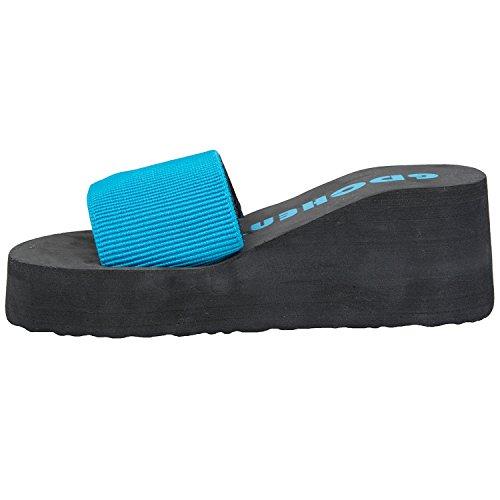 Oasap Femme Eté Tongs Confortable Couleur Bloc Plate-forme Bleu