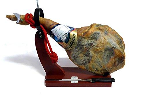 Serrano Schinken Set OHNE ZUSATZSTOFFE mit Bock und Messer, nur Meersalz, luftgetrocknete Paleta Gran Reserva Vorderschinken mit Knochen, aus Spanien