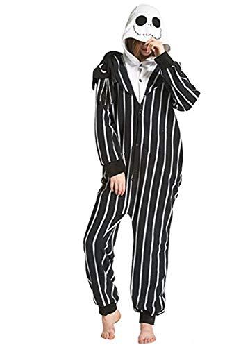 Casa Pyjamas Tieroutfit Schlafanzug Tier Onesies Sleepsuit mit Kapuze Erwachsene Unisex Overall Halloween Kostüm (X-Large, Skelett)