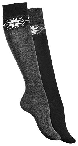 Lot de 2 paires de chaussettes montantes, chaud. Chaussettes de laine pour femme. Avec motif de flocon de neige. Origine de VCA 39-42 anthracite noire