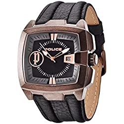 Police Commander Men's Quartz Watch with Black Dial Analogue Display and Brown Leather Strap 13895JSQBR/02