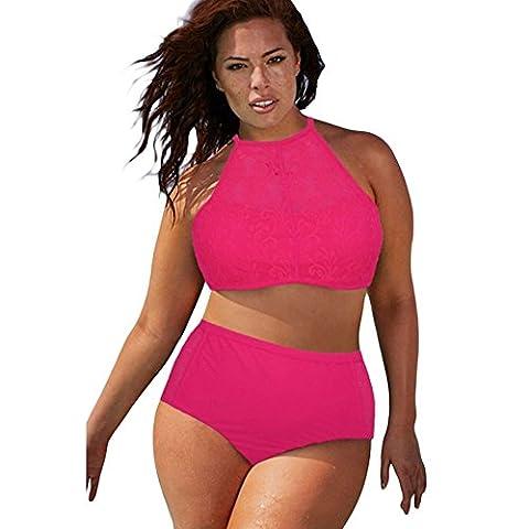CHZY Women without steel ring plus size split swimsuit , red , xxl