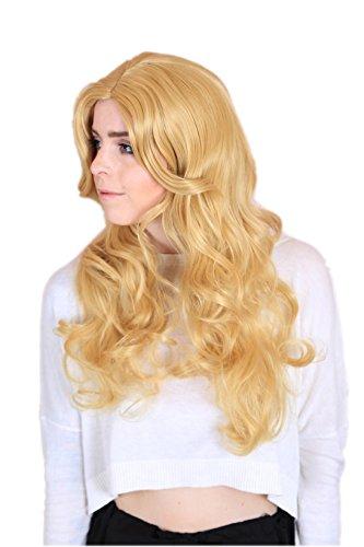 cm Glamourlook Mittelscheitel Welle Locken natürlich Perücke Creme Blond (Comic-figur Für Halloween-kostüm)