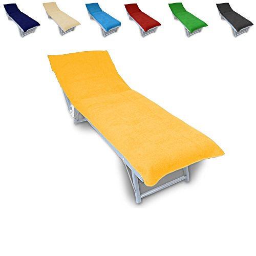 K.A Frottee Schonbezug für Gartenliege Strandliege Liegenbezug 70 cm x 200 cm (Gelb)