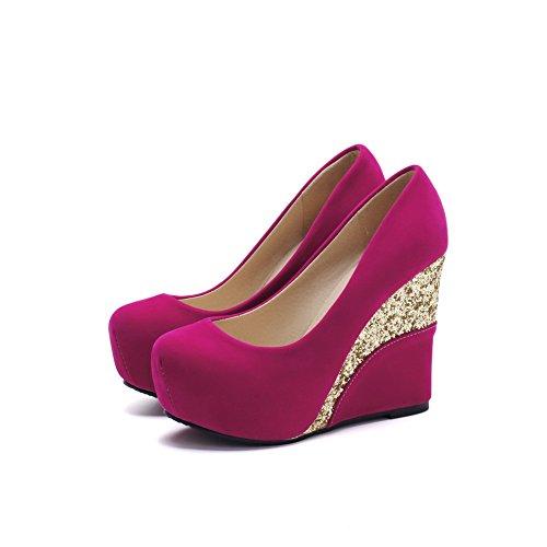 VogueZone009 Damen Rein Mattglasbirne Hoher Absatz Ziehen Auf Rund Zehe Pumps Schuhe Rosa