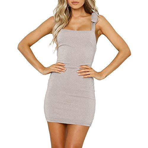Zolimx Frauen Sleeveless Sling Pailletten Halfter Kleid Sexy Bogen Verband Mini Mode Kleid Cocktail Abendkleid