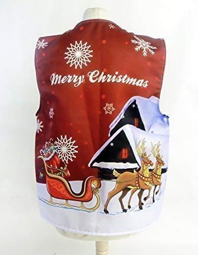 (L&S PRINTS FOAM DESIGNS Santas Schlitten rot Design 2Weihnachten Design Weste Fun & Fancy für alle Anlässe Festival Parteien erhältlich S, M, L, XL, Größen erhältlich (Large 44–46–48))