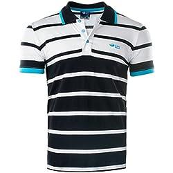 AquaWave Polo para Hombre de Manga Corta - A Rayas - Camiseta Verano - Remiro, Negro/Blanco/Azul, L