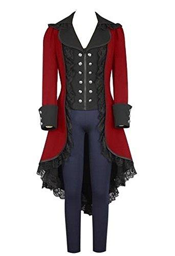 Damen Frack Steampunk Gothic Jacke Vintage Viktorianischen Langer Mantel Kostüm Cosplay Kostüm Smoking Jacke ()