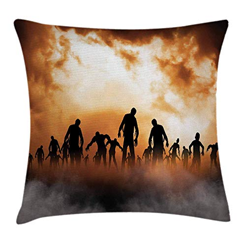 FAFANI Halloween Decorations Throw Pillow Cushion Cover, Zombies Dead Men Body in The Doom Mist at Night Sky Haunted Decor, Decorative Square Accent Pillow Case, 18 X 18 Inches, Orange Black - Mist Fringe