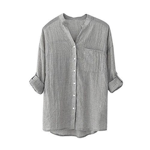 SHOBDW Womens Blouses, Ladies Girls Casual Cotton Linen Solid Long Sleeve T-Shirt Cozy Loose Button Down Tops Gifts