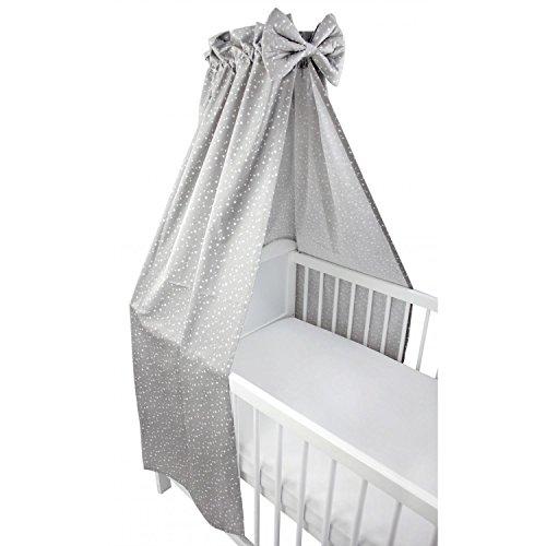 TupTam Babybett Himmel mit Schleife Baumwolle, Farbe: Sterne Grau 2, Größe: ca. 160x240 cm