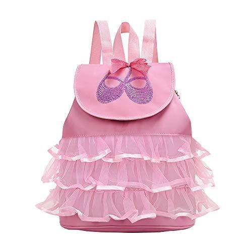 Kinder Tanztasche - Belegao Girls Dance Bag Mädchen Personalisierte Ballett Gymnastik Tasche Sport Kit Tasche Tanzschuh Lagerung Rucksack Einstellbare Backpack Geburtstagsgeschenk Rosa Rose