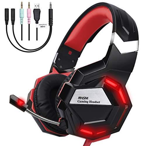 NHSM Gaming Headset PC 3.5mm LED Kopfhörer mit Mikrofon Surround Sound Lautstärkeregelung Mac Windows PS4 Xbox One Laptop Tablet Mobile Phones Schwarz/Rot -