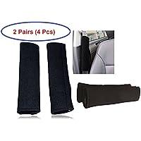 Set de 4 almohadillas protectoras para cinturón de seguridad, 2 pares, color negro, de la marca Tech Traders