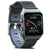 MorePro - Reloj Inteligente con GPS y 17 Modos Deportivos, 50 m, IP68, Resistente al Agua, podómetro, Monitor de sueño, recordatorio de Mensajes, ., Gris