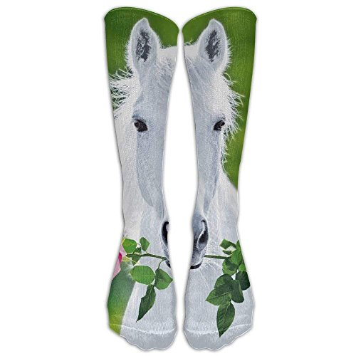 Länge Athletische Socken Schwarz (Daisylove Lange weiße Pferde-Socken für Damen, Winter, Vintage, Baumwolle, Wolle, gestrickt, lang)