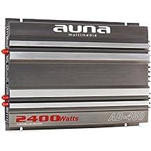 auna AB-450 amplificatore per auto (4 x 90 Watt RMS/2400 Watt, 4 canali, telaio a bassa risonanza, design accurato, ingressi di alto e basso livello, ottima qualità) - nero