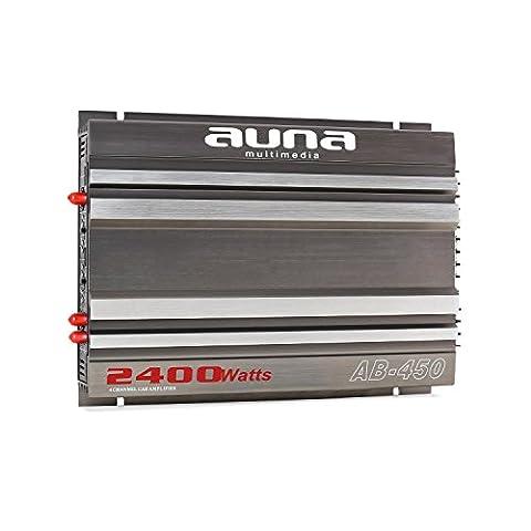 auna AB-450 • Car HiFi Verstärker • 4-Kanal Auto-Endstufe • Car Amplifier • Leistung: 2400 Watt max. • Hoch- / Niedrigpegel-Eingänge • regelbarer Tiefpass-Filter • Frequenzbereich: 20 Hz-20 kHz • Betriebs-LED • brückbar • 4/2/1-Kanal-Betrieb • grau-silber