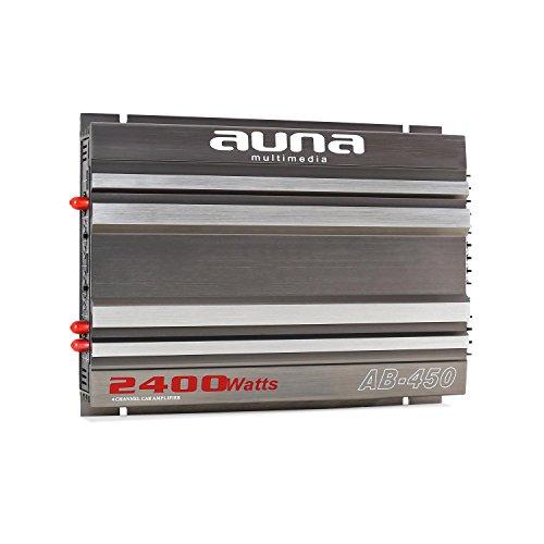 auna AB-450 Auto-Endstufe 4-Kanal-Verstärker Car HiFi Verstärker (2400 Watt max, regelbarer Tiefpassfilter, Racing-Design, brückbar, 20 Hz-20 kHz Frequenz) grau-Silber