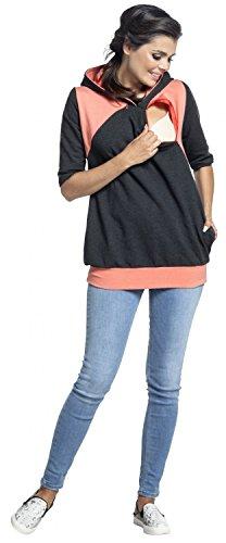 Zeta Ville - Still-Sweatshirt Kontrastdetail Kapuze Seitentaschen - Damen - 334c Graphit & Aprikose